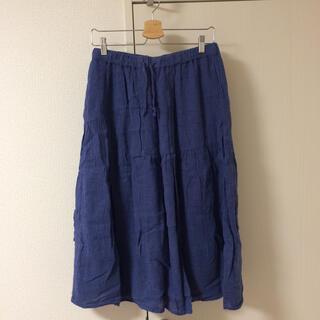 スタディオクリップ(STUDIO CLIP)のミディ丈フレアスカート Lサイズ ブルー(ひざ丈スカート)