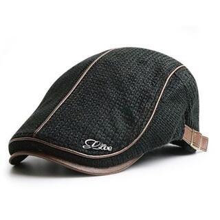 ハンチング メンズ 帽子 冬帽子 耐寒 防風 保温 ブラック 帽子003(ハンチング/ベレー帽)