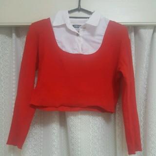 フィグアンドヴァイパー(FIG&VIPER)のFIGandVIPER 襟付きニット 赤(シャツ/ブラウス(半袖/袖なし))