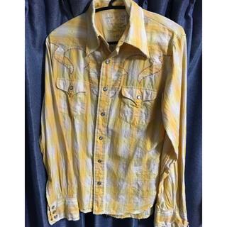ティーエムティー(TMT)のTMT チェックシャツ ウエスタン黄色Mサイズ イエロー ラメ入り キムタク (シャツ)