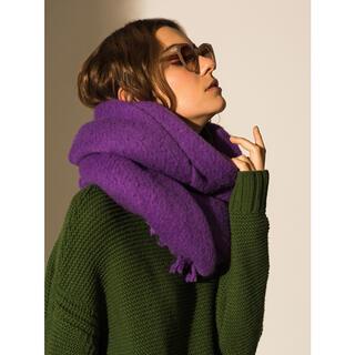 ミラオーウェン(Mila Owen)のMila Owen カラーツイストフリンジストール 紫(マフラー/ショール)