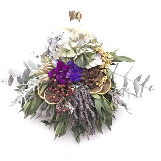 purple×red  ドライフルーツ×野バラの実のドライフラワースワッグ(ドライフラワー)