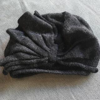 ミサハラダ(misaharada)のmisaharadaミサハラダ⚫︎モヘアニット帽フリルベレーチャコールグレー(ニット帽/ビーニー)