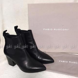 FABIO RUSCONI - Fabio Rusconi  ポインテッド サイドゴア ショートブーツ 黒