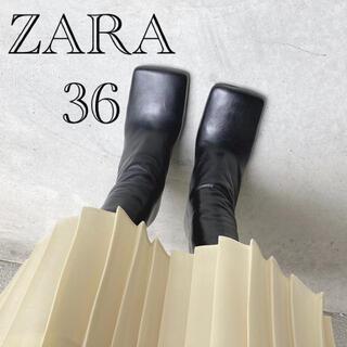 ザラ(ZARA)の美品/ZARA/スクエアトゥレザー/ヒールアンクルブーツ(ブーツ)
