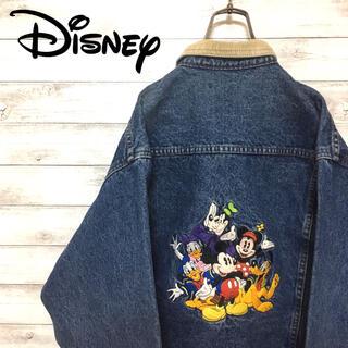 ディズニー(Disney)の激レア 90s ディズニー デニムジャケット コーデュロイ 裏地 バック刺繍(Gジャン/デニムジャケット)