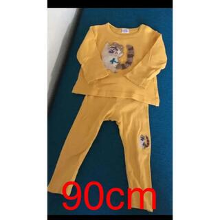 ハッカベビー(hakka baby)のハッカベビー 90cm セットアップ タヌキ マスタード(Tシャツ/カットソー)