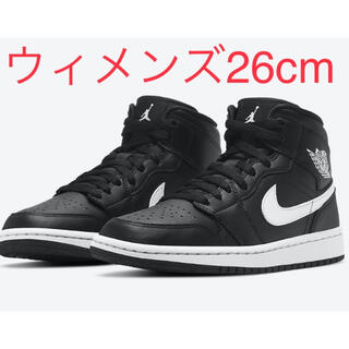 ナイキ(NIKE)のNIKE WMNS AIR JORDAN 1 MID BLACK/WHITE(スニーカー)