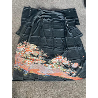 確認用です‼️留袖 黒オレンジ 扇 笹 花(着物)
