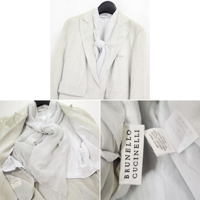 BRUNELLO CUCINELLI(ブルネロクチネリ)のブルネロクチネリ スエード レザー ジャケット シルク スカーフ ストール 42 レディースのジャケット/アウター(テーラードジャケット)の商品写真