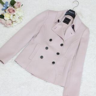 フォクシー(FOXEY)の美品 カシミヤショートコート FOXEY ピンク 38サイズ フォクシー 綺麗 (ピーコート)