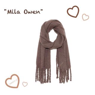 ミラオーウェン(Mila Owen)のミラオーウェン♡モカ♡ストール♡フリンジ♡新品タグ付き♡雑誌掲載♡(マフラー/ショール)