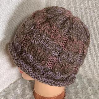 ハンドメイドニット帽♡毛混55 cm(帽子)