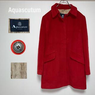 アクアスキュータム(AQUA SCUTUM)のアクアスキュータム ロングコート アンゴラ カシミヤ混 ウール レッド(ロングコート)