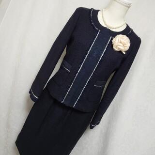 ノーリーズ(NOLLEY'S)の美品ノーリーズ 上質上品な濃紺ツイードのスカートスーツ セットアップ サイズ38(スーツ)