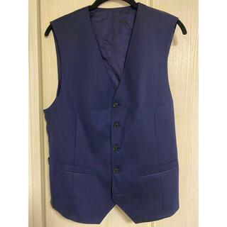 メンズスーツ ベスト*濃紺 オリガラストライプ LLサイズ(スーツベスト)