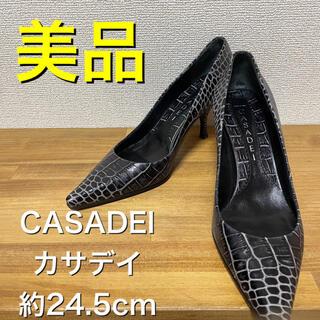 CASADEI カサデイ パンプス ワニ柄 クロコダイル柄 ピンヒール 24.5(ハイヒール/パンプス)