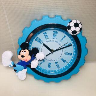 ディズニー(Disney)のディズニー 掛け時計 ミッキー マウス サッカー ブルー(掛時計/柱時計)