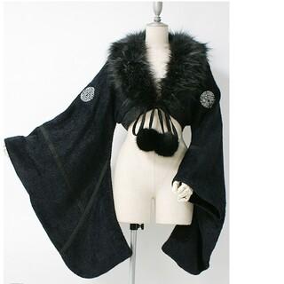 オッズオン(OZZON)のキューティーフラッシュ 今冬新作 ファー付き着物ショートカーデ(カーディガン)
