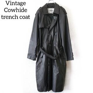 Vintage 牛革 レザー トレンチコート ロングコート 黒 ブラック(トレンチコート)