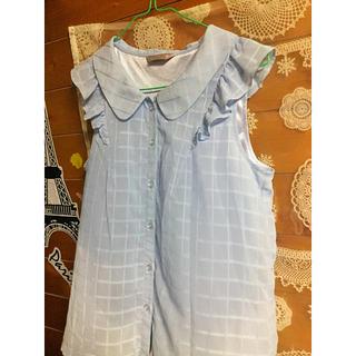 パウダーシュガー(POWDER SUGAR)の水色フリルシャツ♡パウダーシュガー(シャツ/ブラウス(半袖/袖なし))