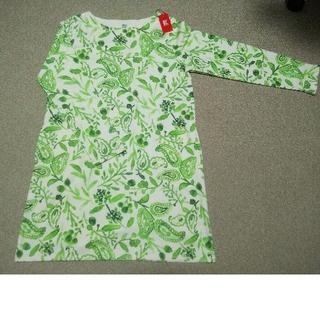 グラニフ(Design Tshirts Store graniph)の【新品】グラニフ 長袖 ワンピース グリーン(ひざ丈ワンピース)