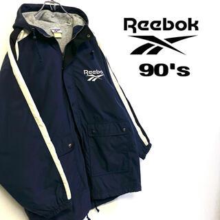 リーボック(Reebok)の美品 90's Reebok ナイロンベンチコート メンズM ネイビー(ブルゾン)