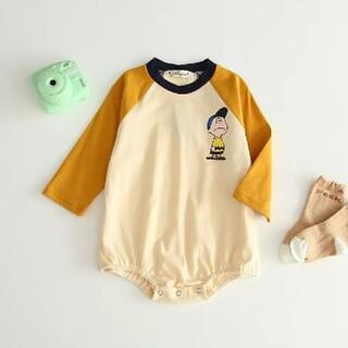 【新品未使用】韓国子供服 チャーリーブラウン ラグラン ロンパース(ロンパース)