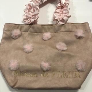 メゾンドフルール(Maison de FLEUR)の美品♡ファー付きフリルハンドルトートバッグ♡Sサイズ♡ピンク(トートバッグ)