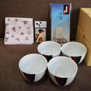 【新品未使用】歌舞伎座限定セット 湯呑み4個、ハンカチ、一筆箋、マグネット(伝統芸能)
