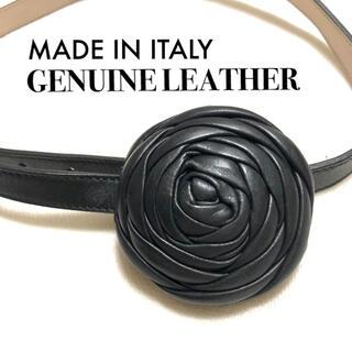 マルタンマルジェラ(Maison Martin Margiela)のイタリア製 牛革 レザー ローズモチーフ細ベルト(ベルト)