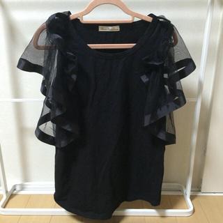 スリーフォータイム(ThreeFourTime)の袖お洒落 黒Tシャツ(Tシャツ(半袖/袖なし))