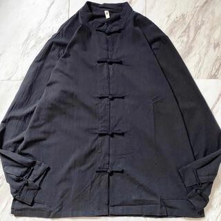 Yohji Yamamoto - dead stock xxxxl オーバーサイズ ブラック 黒 チャイナシャツ