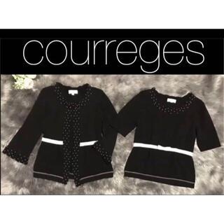 クレージュ(Courreges)のCourreges  アンサンブル 黒クレージュ半袖ニット長袖カーディガンセット(アンサンブル)
