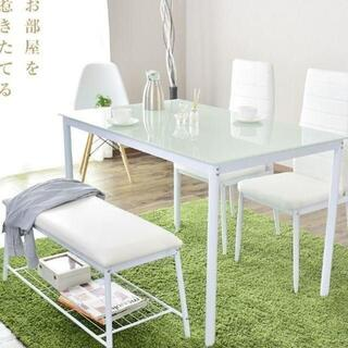 新品 おしゃれ ダイニングテーブルセット 4点セット ベンチ付き(ダイニングテーブル)