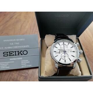セイコー(SEIKO)のseiko cronograph カーフレザー 7T62(腕時計(アナログ))