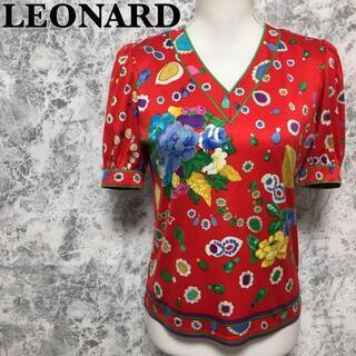 LEONARD - レオナール 花柄 Vネック 半袖 カットソー Tシャツ 赤 レッド S相当