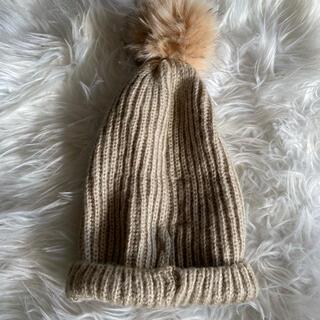 ザラ(ZARA)のzara ザラ ベージュニット帽(ニット帽/ビーニー)