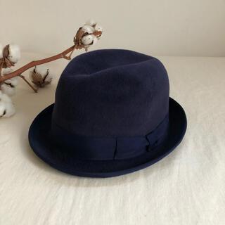 カシラ(CA4LA)のCA4LAのフェルト素材のデザインが可愛いネイビーの中折れハット 中折れ帽(ハット)