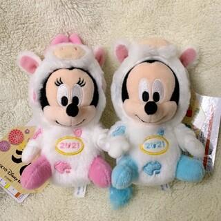 ディズニー(Disney)の2021年 丑年 干支ぬいぐるみバッジ ミッキーマウス & ミニーマウス(ぬいぐるみ)