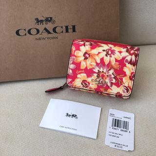 コーチ(COACH)の新品★COACH 2020年秋冬新作 クロスグレインレザー 三つ折り財布 花柄(財布)