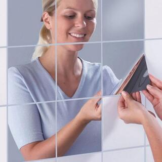ミラーシール 鏡 ウォールステッカー 壁紙 おしゃれ DIY 四角16枚(壁掛けミラー)