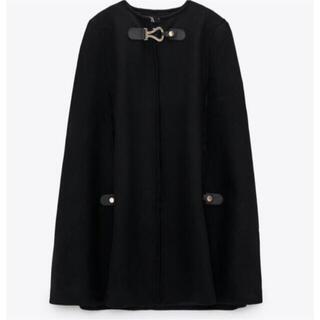ザラ(ZARA)のZARAバックル付きケープコート 黒 Mサイズ(ポンチョ)