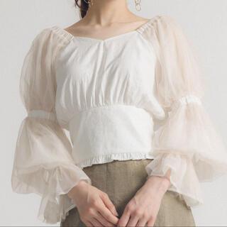 ラベルエチュード(la belle Etude)のチュール袖/ホワイト/ブラウス(シャツ/ブラウス(半袖/袖なし))