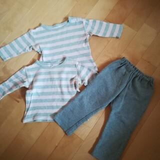 MUJI (無印良品) - 無印 ロンT パンツ 起毛スムース 起毛 パンツ 80 90 ズボン 長袖