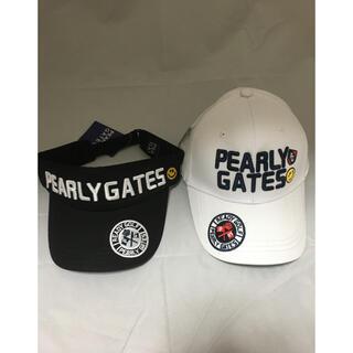 パーリーゲイツ(PEARLY GATES)のパーリーゲイツ キャップ サンバイザー 白 黒 フリーサイズ 新品 未使用(サンバイザー)