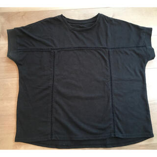エニィファム(anyFAM)のanyFAM 刺し子のかわいい半袖カットソー 黒 M(カットソー(半袖/袖なし))