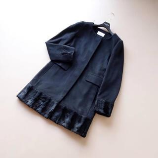 M-premier - ■エムプルミエブラック■ 38 フェイクファー 黒 コート カシミヤ混