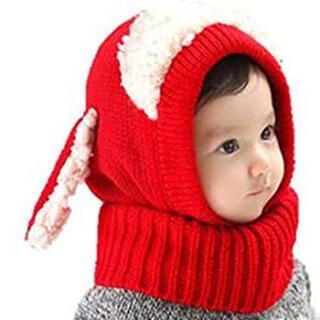 こども、赤ちゃん用 ニット帽 赤色(帽子)