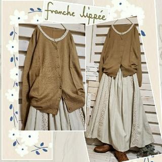 フランシュリッペ(franche lippee)の美品franchelippee/薄地wool&アクリル カーディガン  M(カーディガン)